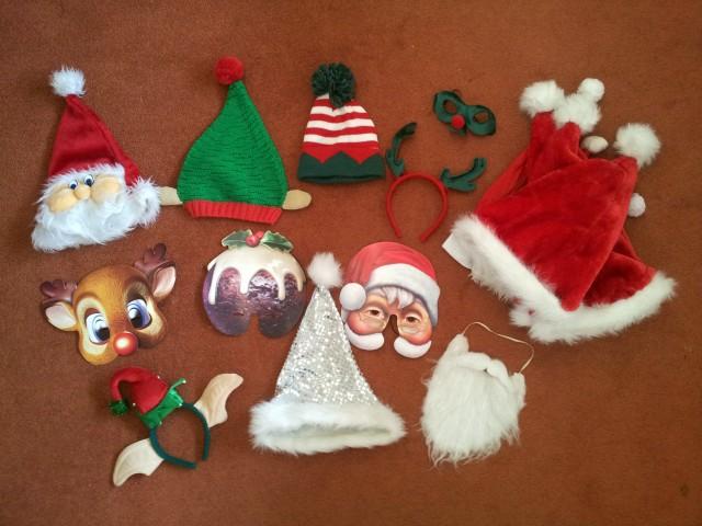 Christmas hats, christmas masks